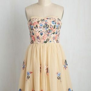 Modcloth Geode Beige Floral Embroidery Dress